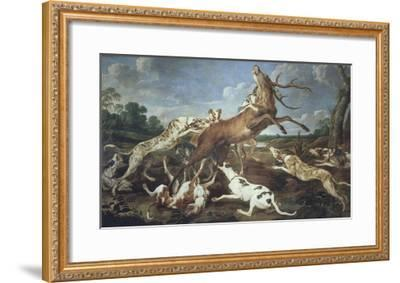 Stag Attacked by Pack of Hounds-Paul De Vos-Framed Giclee Print