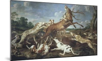Stag Attacked by Pack of Hounds-Paul De Vos-Mounted Giclee Print