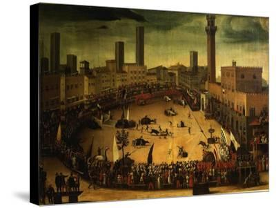 Siena, Italy, Public Entertainment in Square with Bulls, Bear and Wooden Contraptions-Vincenzo Rustici-Stretched Canvas Print