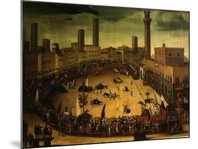 Siena, Italy, Public Entertainment in Square with Bulls, Bear and Wooden Contraptions-Vincenzo Rustici-Mounted Giclee Print