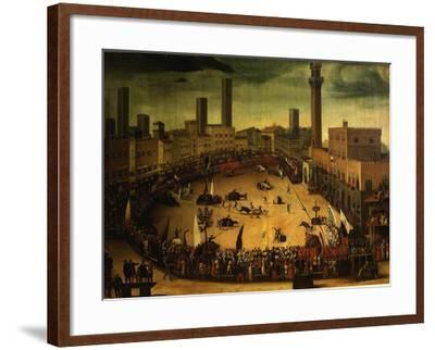 Siena, Italy, Public Entertainment in Square with Bulls, Bear and Wooden Contraptions-Vincenzo Rustici-Framed Giclee Print