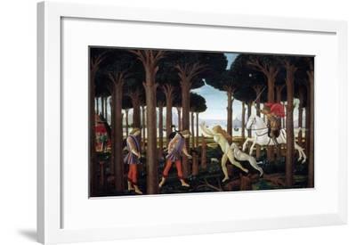 The Story of Nastagio Degli Onesti (First Episode), 1483 (From Boccaccio's Decameron)-Sandro Botticelli-Framed Giclee Print