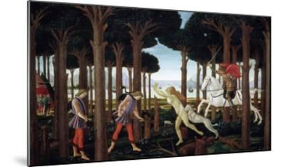 The Story of Nastagio Degli Onesti (First Episode), 1483 (From Boccaccio's Decameron)-Sandro Botticelli-Mounted Giclee Print