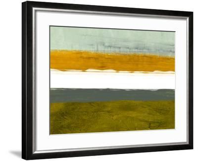 Abstract Stripe Theme Yellow and White-NaxArt-Framed Art Print
