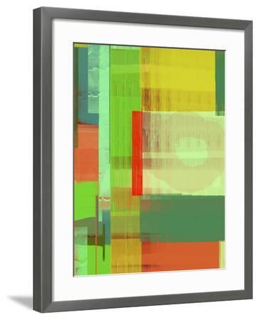 Green and Brown Abstract 3-NaxArt-Framed Art Print