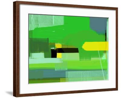 Green and Brown Abstract 6-NaxArt-Framed Art Print