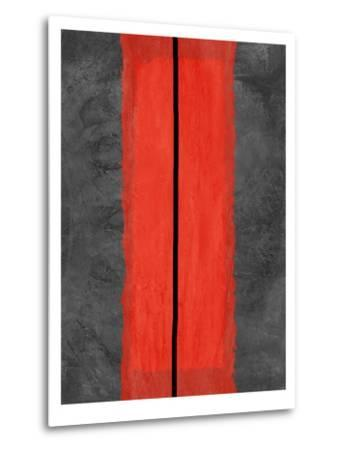 Grey and Red Abstract 5-NaxArt-Metal Print