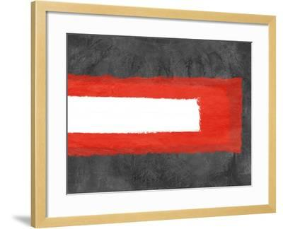 Grey and Red Abstract 6-NaxArt-Framed Art Print