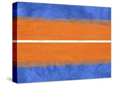 Blue and Orange Abstract Theme 4-NaxArt-Stretched Canvas Print