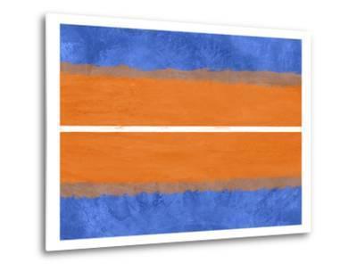 Blue and Orange Abstract Theme 4-NaxArt-Metal Print