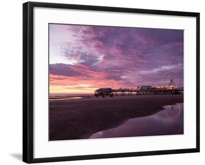 England, Lancashire, Blackpool, Central Pier Sunset-Mark Sykes-Framed Photographic Print