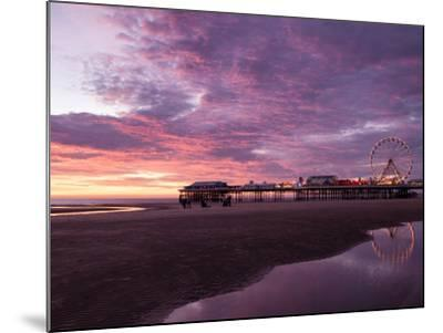 England, Lancashire, Blackpool, Central Pier Sunset-Mark Sykes-Mounted Photographic Print