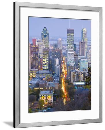 Canada, Quebec, Montreal, Downtown from Mount Royal Park or Parc Du Mont-Royal-Alan Copson-Framed Photographic Print