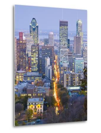 Canada, Quebec, Montreal, Downtown from Mount Royal Park or Parc Du Mont-Royal-Alan Copson-Metal Print