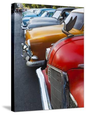 Cuba, Havana, Central Havana, Parque De La Fraternidad, Old 1950s-Era US Cars-Walter Bibikow-Stretched Canvas Print