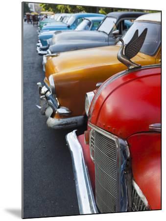 Cuba, Havana, Central Havana, Parque De La Fraternidad, Old 1950s-Era US Cars-Walter Bibikow-Mounted Photographic Print
