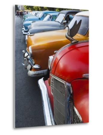 Cuba, Havana, Central Havana, Parque De La Fraternidad, Old 1950s-Era US Cars-Walter Bibikow-Metal Print