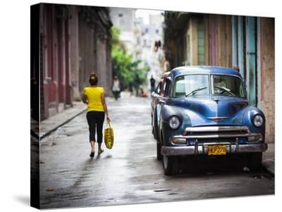 Cuba, Havana, Havana Vieja View of Old Havana Street with 1950s-Era US Car-Walter Bibikow-Stretched Canvas Print