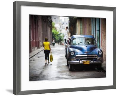 Cuba, Havana, Havana Vieja View of Old Havana Street with 1950s-Era US Car-Walter Bibikow-Framed Photographic Print