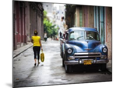 Cuba, Havana, Havana Vieja View of Old Havana Street with 1950s-Era US Car-Walter Bibikow-Mounted Photographic Print