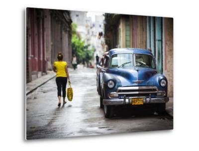 Cuba, Havana, Havana Vieja View of Old Havana Street with 1950s-Era US Car-Walter Bibikow-Metal Print