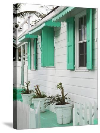 Bahamas, Eleuthera Island, Harbour Island, Dunmore Town, House Detail-Walter Bibikow-Stretched Canvas Print