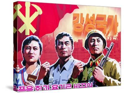 North Korea, Pyongyang, Propaganda Poster-Gavin Hellier-Stretched Canvas Print