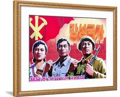 North Korea, Pyongyang, Propaganda Poster-Gavin Hellier-Framed Photographic Print