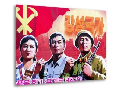 North Korea, Pyongyang, Propaganda Poster-Gavin Hellier-Metal Print