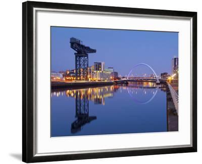 UK, Scotland, Glasgow, River Clyde, Finnieston Crane and the Clyde Arc, Nicknamed the Squinty Bridg-Alan Copson-Framed Photographic Print