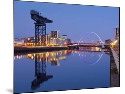 UK, Scotland, Glasgow, River Clyde, Finnieston Crane and the Clyde Arc, Nicknamed the Squinty Bridg-Alan Copson-Mounted Photographic Print