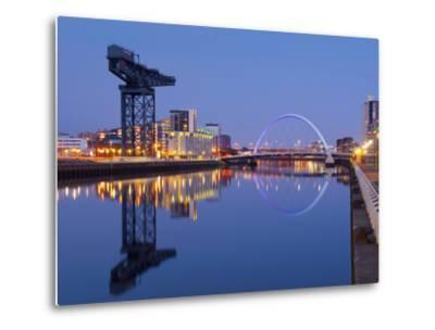 UK, Scotland, Glasgow, River Clyde, Finnieston Crane and the Clyde Arc, Nicknamed the Squinty Bridg-Alan Copson-Metal Print