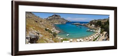 Lindos Acropolis and Harbour, Lindos, Rhodes, Greece-Doug Pearson-Framed Photographic Print