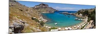 Lindos Acropolis and Harbour, Lindos, Rhodes, Greece-Doug Pearson-Mounted Photographic Print