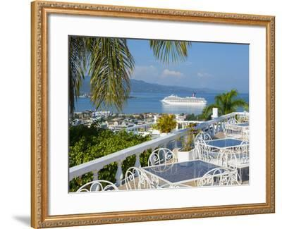 Elevated View over City Center and Cruize Liner, Montego Bay, St. James Parish, Jamaica, Caribbean-Doug Pearson-Framed Photographic Print