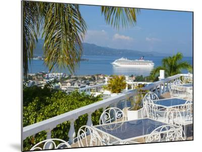 Elevated View over City Center and Cruize Liner, Montego Bay, St. James Parish, Jamaica, Caribbean-Doug Pearson-Mounted Photographic Print