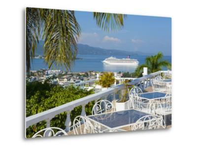 Elevated View over City Center and Cruize Liner, Montego Bay, St. James Parish, Jamaica, Caribbean-Doug Pearson-Metal Print