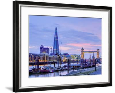 UK, England, London, River Thames, the Shard and Tower Bridge-Alan Copson-Framed Photographic Print