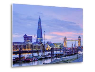 UK, England, London, River Thames, the Shard and Tower Bridge-Alan Copson-Metal Print