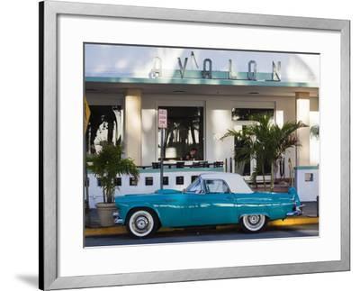 USA, Miami Beach, South Beach, Ocean Drive, Avalon Hotel and 1957 Thunderbird Car-Walter Bibikow-Framed Photographic Print