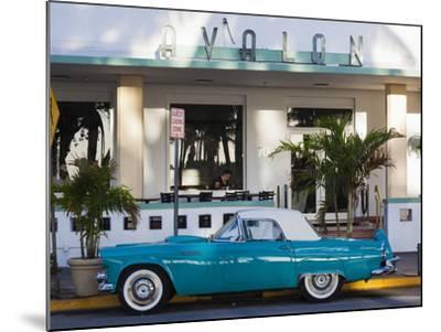 USA, Miami Beach, South Beach, Ocean Drive, Avalon Hotel and 1957 Thunderbird Car-Walter Bibikow-Mounted Photographic Print