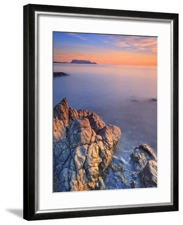 Italy, Sardinia, Olbia-Tempio District, Budoni, Coastline and Tavolara Island-Francesco Iacobelli-Framed Photographic Print
