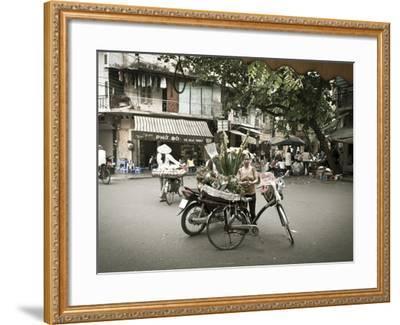 Flower Seller in the Old Quarter, Hanoi, Vietnam-Jon Arnold-Framed Photographic Print