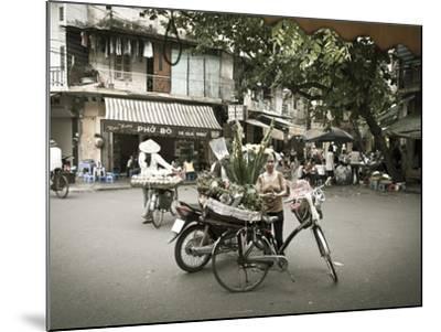 Flower Seller in the Old Quarter, Hanoi, Vietnam-Jon Arnold-Mounted Photographic Print