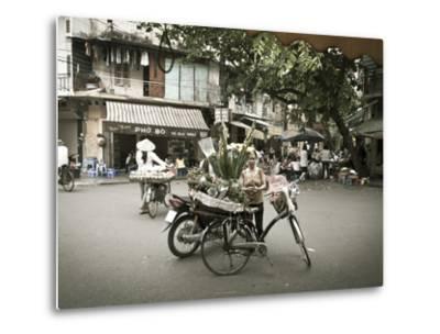 Flower Seller in the Old Quarter, Hanoi, Vietnam-Jon Arnold-Metal Print