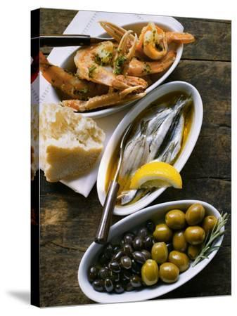 Marinated Sardines, Fried Scampi and Olives--Stretched Canvas Print