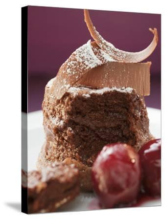 Chocolate Soufflé with Chocolate Curls and Cherries--Stretched Canvas Print