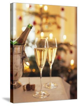 Two Glasses of Sparkling Wine for Christmas Party-Joerg Lehmann-Stretched Canvas Print