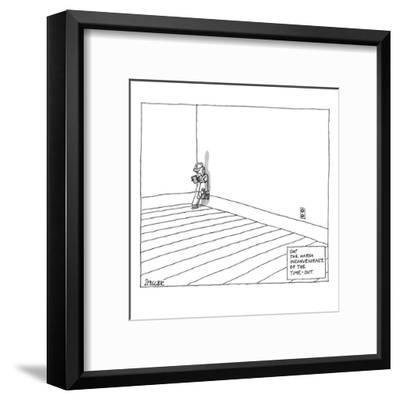 A child plays on a tablet in the corner of the room with the following cap? - New Yorker Cartoon-Jack Ziegler-Framed Premium Giclee Print