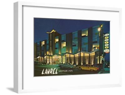 Laurel Motor Inn at Night--Framed Art Print